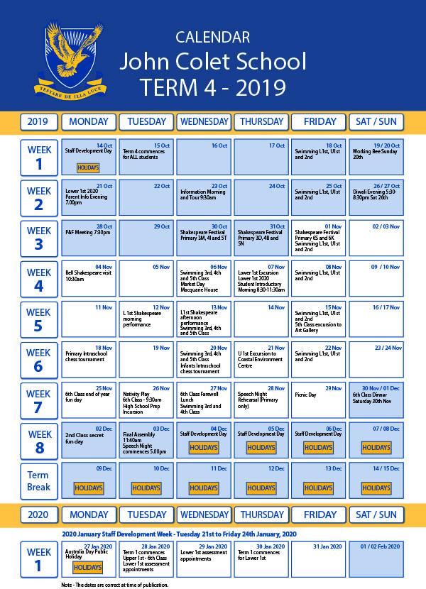 2019 Term 4 Dates John Colet School web