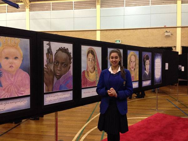Alumni Catch-up:  Maya Skidmore - image Maya-with-artwork on https://www.johncolet.nsw.edu.au